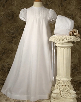 Exquisite PolyCotton  with Capp Sleeves Christening Dress