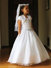Exquisite Two Piece White Organza Communion Dress