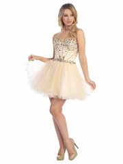 Fancy Jewel Accented  Prom Dress with Tulle Short Skirt