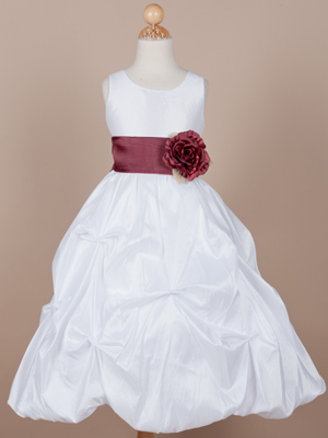 Fine Quality Taffeta Pick-up Flower Girl Dress with Gorgeous Organza Sash