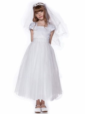 First Communion Dress with Cap Sleeves
