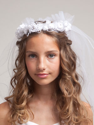 First Communion Veil with Floral Crown
