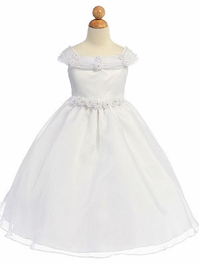 Floral Accented Neckline Communion Dress