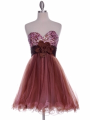 Floral Accented Waistband Tulle Skirt Prom Dress