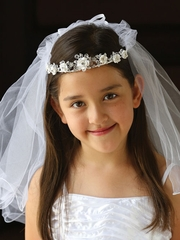 Floral Communion Wreath With Veil