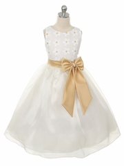 Floral Lace Flower Girl Dress with Organza Skirt