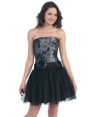 Floral Printed Bodice w/Tulle Skirt Party Dress