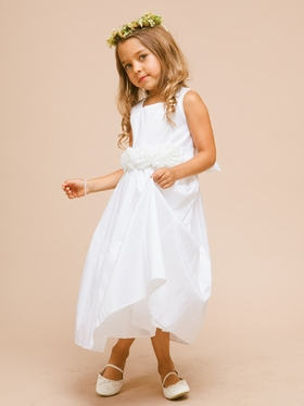 Flower Accented Waistband Flower Girl Dress