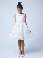 Flower and Dot Embroidered Organza with Collar Dress