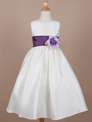 Flower Girl Dress with Eggplant Organza Sash