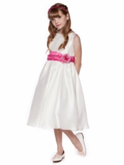 Flower Girl Dress with Fuchsia Sash