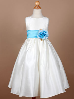 Flower Girl Dress with Organza Turquoise Sash