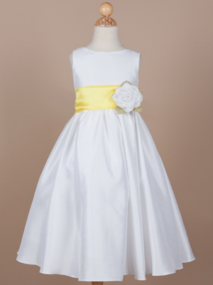 Flower Girl Dress with Yellow Organza Sash
