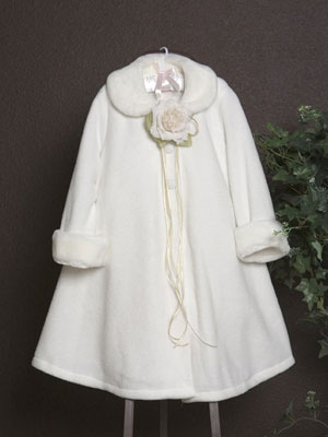 Flower Girl Fleece Coat with Fur Trim