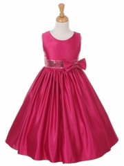 Fuchsia Boat-neck Satin Dress with Sequence Sash