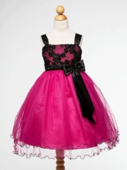 Fuchsia Cord Embroidered Flower Girl Dress