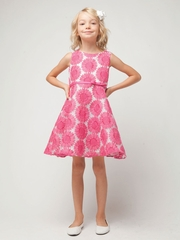 Fuchsia Daisy Embroidered  Organza Dress