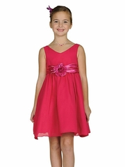 Fuchsia Flare Dress with Flower Corsage
