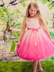 Fuchsia Ombre Flower Girl  Dress
