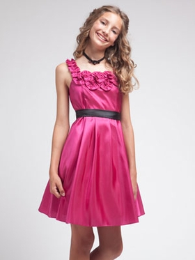 Fuchsia  Rosette Neckline  Junior Brides Maid Dress
