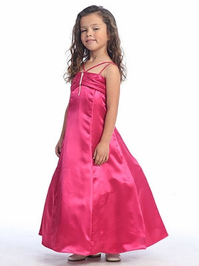 Fuchsia Ruched Bodice Flower Girl Dress