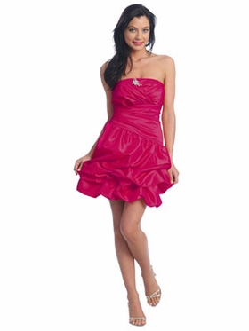 Fuchsia Short Bubble Bridesmaid Dress