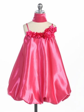 Fuchsia Stylish Satin Bubble Dress with Rosette