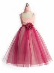 Fuchsia Two Tone Satin Dress with Tulle Skirt