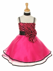Fun Fuchsia Flock Zebra Printed Taffeta Graduation Dress