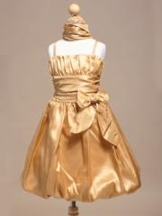 Gold Inspired Bubble Short Flower Girl Dress