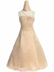 Gold Ruched Bodice Flower Girl Dress