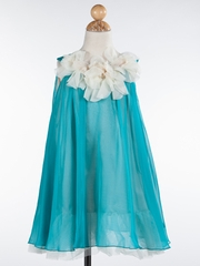 Chiffon Girl Dress with Ruffled Neckline in Teal