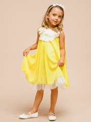 Yellow Chiffon Girl Dress with Ruffled Floral Neckline