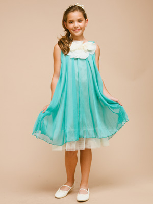 Teal Chiffon Girl Dress with Ruffled Neckline