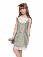 Gorgeous  Chiffon Girl Dress with Ruffled Floral Neckline
