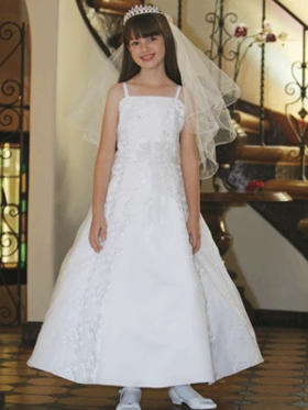 Gorgeous Full Length Satin Communion Dress