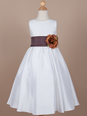Gorgeous Poly-Shantung Flower Girl Dress with Organza Sash