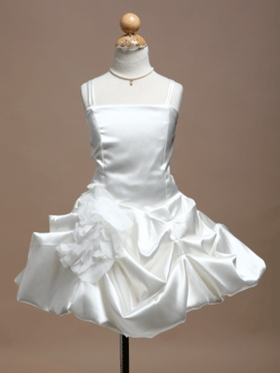 Gorgeous Satin Short Gathered Flower Girl Dress