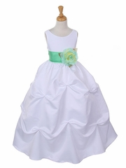 Gorgeous Taffeta Gathered Flower Girl Dress with Contrast Organza Sash