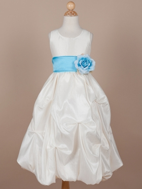 Gorgeous Taffeta Gathered Flower Girl Dress