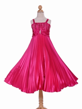 Gorgeously Pleated Rhinestone Beaded  Flower Girl Dress