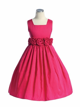 Hand Rolled Flower Accent Flower Girl Dress