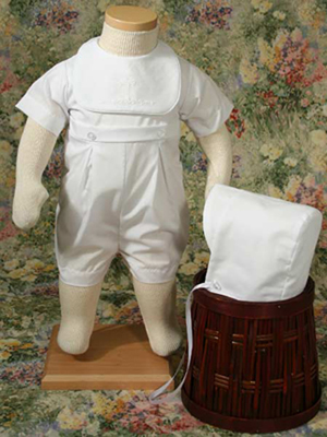 Handsome Polycotton Christening Romper with Screened Cross