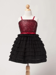Hot Pink Holiday Sequin Mesh With Short Tiered Skirt