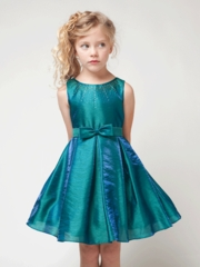 Island Blue Two Tone Shantung Dress
