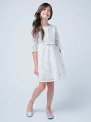 Ivory 3/4 Sleeve Sequin Lace Holiday Dress
