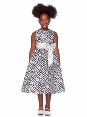 Ivory Animal Print Flower Girl Dress