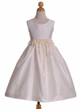Ivory Flower Girl Dress with Floral Around Waistband