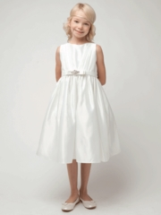Ivory Pleated Satin Flower Girl Dress