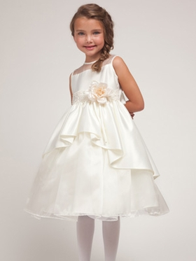 Ivory  Princess Overlay Flower Girl Dress